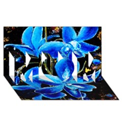 Bright Blue Abstract Flowers Mom 3d Greeting Card (8x4)