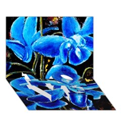 Bright Blue Abstract Flowers Love Bottom 3d Greeting Card (7x5)