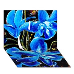 Bright Blue Abstract Flowers Apple 3d Greeting Card (7x5)