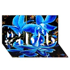 Bright Blue Abstract Flowers #1 Dad 3d Greeting Card (8x4)
