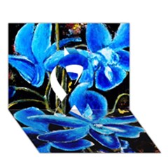 Bright Blue Abstract Flowers Ribbon 3d Greeting Card (7x5)  by timelessartoncanvas