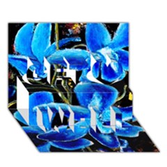 Bright Blue Abstract Flowers Get Well 3d Greeting Card (7x5)  by timelessartoncanvas