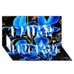 Bright Blue Abstract Flowers Laugh Live Love 3d Greeting Card (8x4)