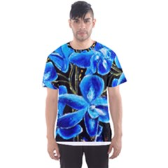 Bright Blue Abstract Flowers Men s Sport Mesh Tees by timelessartoncanvas