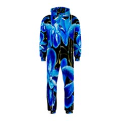 Bright Blue Abstract Flowers Hooded Jumpsuit (kids)