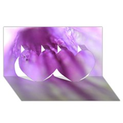 Purple Flower Pedal Twin Hearts 3d Greeting Card (8x4)  by timelessartoncanvas