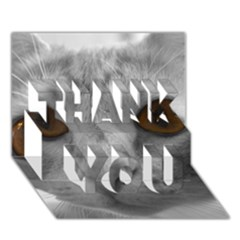 Funny Cat Thank You 3d Greeting Card (7x5)