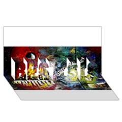 Abstract Music Painting Best Sis 3d Greeting Card (8x4)