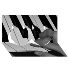 The Piano Player Twin Hearts 3d Greeting Card (8x4)  by timelessartoncanvas