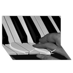 The Piano Player Twin Heart Bottom 3d Greeting Card (8x4)  by timelessartoncanvas