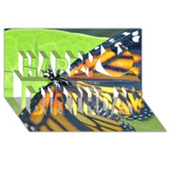 Butterfly 2 Happy Birthday 3d Greeting Card (8x4)  by timelessartoncanvas