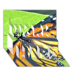 Butterfly 2 WORK HARD 3D Greeting Card (7x5)