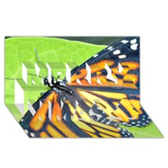 Butterfly 2 Merry Xmas 3d Greeting Card (8x4)  by timelessartoncanvas