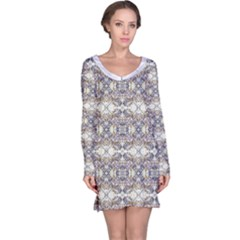 Oriental Geometric Floral Long Sleeve Nightdresses by dflcprintsclothing