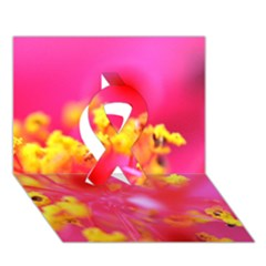 Bright Pink Hibiscus Ribbon 3d Greeting Card (7x5)  by timelessartoncanvas