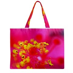 Bright Pink Hibiscus Zipper Tiny Tote Bags by timelessartoncanvas