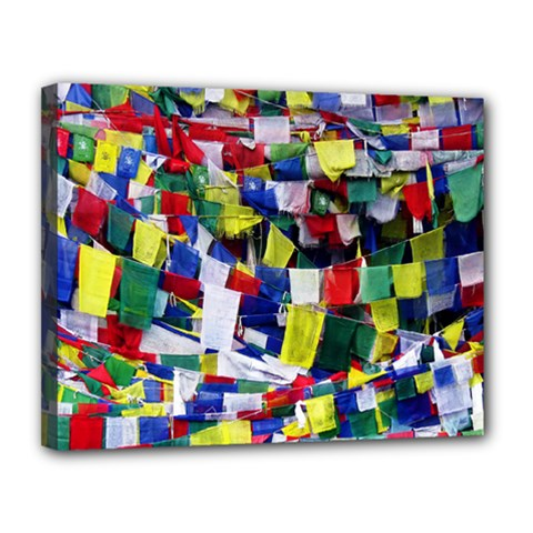 Tibetan Buddhist Prayer Flags Canvas 14  X 11