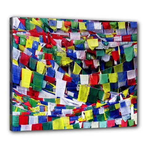 Tibetan Buddhist Prayer Flags Canvas 24  X 20  by CrypticFragmentsColors