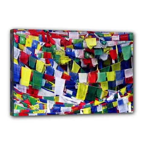 Tibetan Buddhist Prayer Flags Canvas 18  X 12  by CrypticFragmentsColors