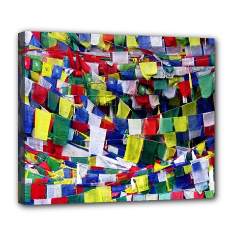 Tibetan Buddhist Prayer Flags Deluxe Canvas 24  X 20   by CrypticFragmentsColors