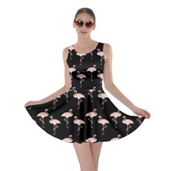 Pink Flamingo Pattern On Black  Skater Dresses by CrypticFragmentsColors