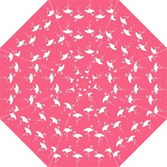 Flamingo White On Pink Pattern Golf Umbrellas by CrypticFragmentsColors