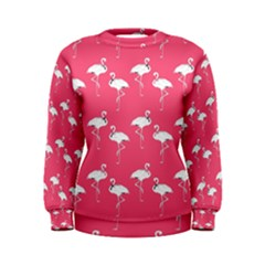 Flamingo White On Pink Pattern Women s Sweatshirts by CrypticFragmentsColors