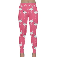 Flamingo White On Pink Pattern Yoga Leggings by CrypticFragmentsColors