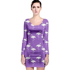 Flamingo White On Lavender Pattern Long Sleeve Bodycon Dresses by CrypticFragmentsColors