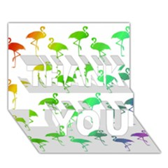 Flamingo Pattern Rainbow  Thank You 3d Greeting Card (7x5)  by CrypticFragmentsColors