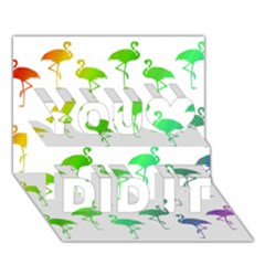Flamingo Pattern Rainbow  You Did It 3d Greeting Card (7x5)
