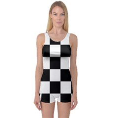 Checkered Flag Race Winner Mosaic Tile Pattern Women s Boyleg One Piece Swimsuits by CrypticFragmentsColors