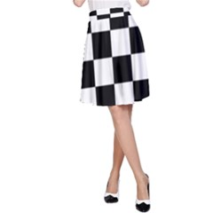 Checkered Flag Race Winner Mosaic Tile Pattern A Line Skirts
