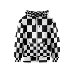 Checkered Flag Race Winner Mosaic Tile Pattern Kids Zipper Hoodies by CrypticFragmentsColors