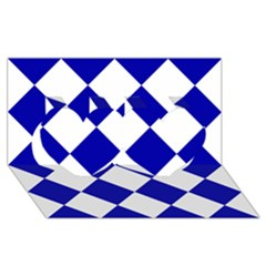 Harlequin Diamond Pattern Cobalt Blue White Twin Hearts 3d Greeting Card (8x4)  by CrypticFragmentsColors