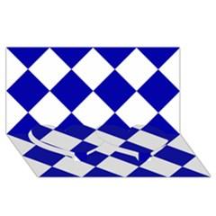 Harlequin Diamond Pattern Cobalt Blue White Twin Heart Bottom 3d Greeting Card (8x4)