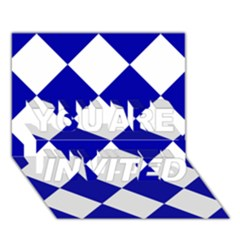 Harlequin Diamond Pattern Cobalt Blue White You Are Invited 3d Greeting Card (7x5)