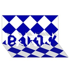 Harlequin Diamond Pattern Cobalt Blue White Party 3d Greeting Card (8x4)