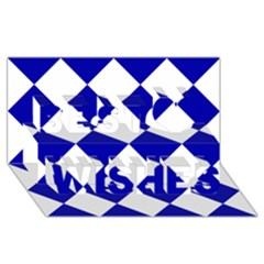 Harlequin Diamond Pattern Cobalt Blue White Best Wish 3d Greeting Card (8x4)  by CrypticFragmentsColors