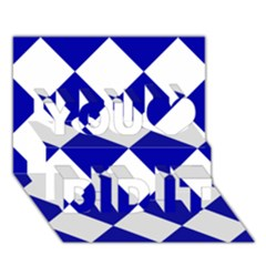 Harlequin Diamond Pattern Cobalt Blue White You Did It 3d Greeting Card (7x5)