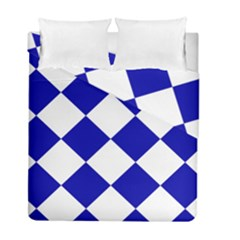 Harlequin Diamond Pattern Cobalt Blue White Duvet Cover (twin Size) by CrypticFragmentsColors