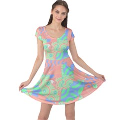 Tropical Summer Fruit Salad Cap Sleeve Dress by CrypticFragmentsColors