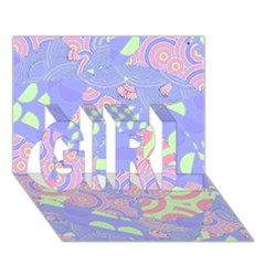 Girls Bright Pastel Abstract Blue Pink Green Girl 3d Greeting Card (7x5)