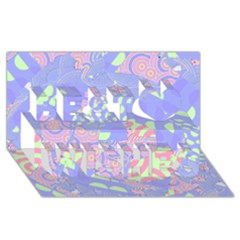 Girls Bright Pastel Abstract Blue Pink Green Best Wish 3D Greeting Card (8x4)