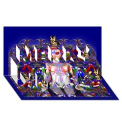 Robot Butterfly Merry Xmas 3d Greeting Card (8x4)  by icarusismartdesigns