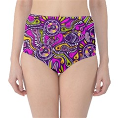 Purple Tribal Abstract Fish High Waist Bikini Bottoms