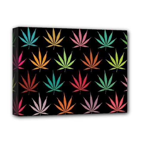 Cannabis Leaf Multi Col Pattern Deluxe Canvas 16  X 12   by ScienceGeek