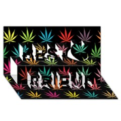 Cannabis Leaf Multi Col Pattern Best Friends 3D Greeting Card (8x4)