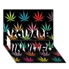 Cannabis Leaf Multi Col Pattern You Are Invited 3d Greeting Card (7x5)