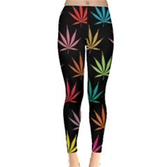 Cannabis Leaf Multi Col Pattern Women s Leggings by ScienceGeek